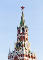Spasskaya Tower of Moscow Kremlin on Red Square in Victory Day in Moscow