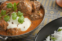 Spicy Indian Meatball or Kofta Curry Meal