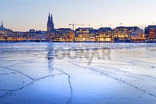 Ausblick über die Binnenalster, Hamburg, Deutschland, Europa