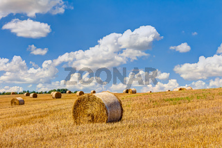 Strohballen auf einem landwirtschaftlichen Feld im Sommer