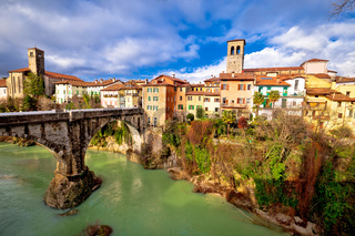 Cividale del Friuli devil's bridge and Natisone river canyon panoramic view