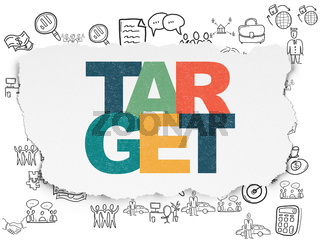 Finance concept: Target on Torn Paper background