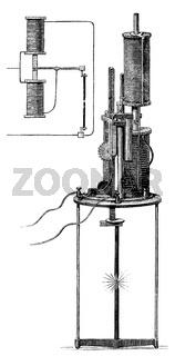 Electric carbon arc lamp, 1879, by Ernst Werner von Siemens