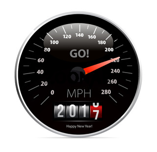 Calendar 2017 in speedometer car.