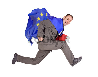 man with the flag of the European Union