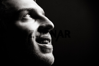 Handsome man portrait. Portrait in profile
