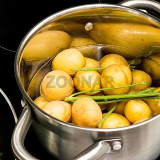 Ein Topf mit Kartoffeln und Dill