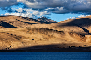 Himalayas and Lake Tso Moriri on sunset. Ladakh