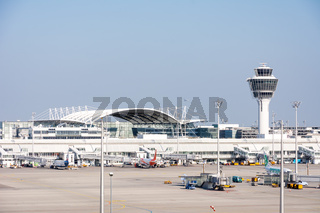 Planes in parking position at Munich ariport