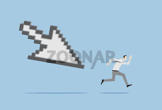 Lifelogging Concept. Man running chased by mouse cursor.