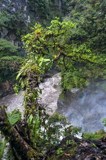 Mountain river, the part of waterfall Pailon del Diablo in the Andes. Banos. Ecuador