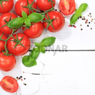 Tomaten Tomate rot Gemüse quadratisch Textfreiraum von oben