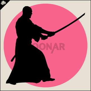 Martial arts. Karate fighter silhouette scene.