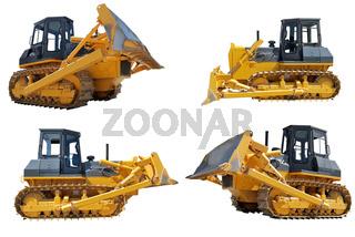 set of bulldozers loaders