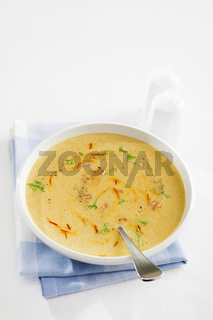 Spanish Onion Soup with Saffron and Almonds