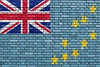 flag of Tuvalu painted on brick wall