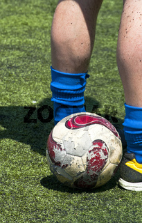 Soccer player with ball before a free kick