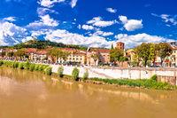Verona cityscape from Adige river bridge panoramic view