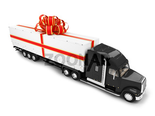 Big Gift car on white background
