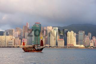 Junk ship and Hong Kong Island