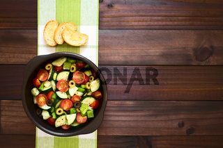 Olive, Tomato, Pepper and Cucumber Salad
