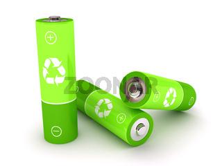 Green battery over white background