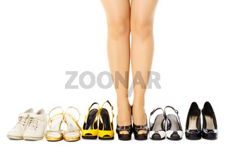 Selection of female shoes for different weather