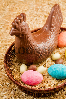 Easter chocolate hen and eggs