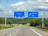 freeway road signs on Autobahn A81 showing exit to Stuttgart