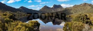 Panorama beautiful mountain scenery, Dove Lake, Cradle Mountain NP, Tasmania