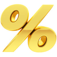 Gold percent sign with gradient reflections isolated on white. High resolution 3D image