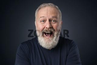 Gray beard happy old man