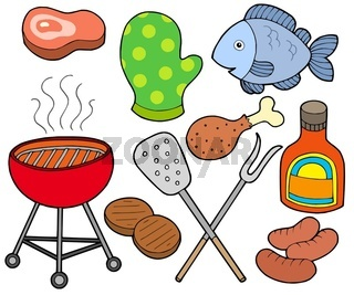 Barbeque collection on white background - isolated illustration.