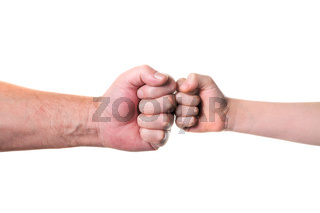 old man and kid holding hands together