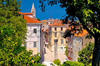 Kalelarga and historic Zadar landmarks view through green frame