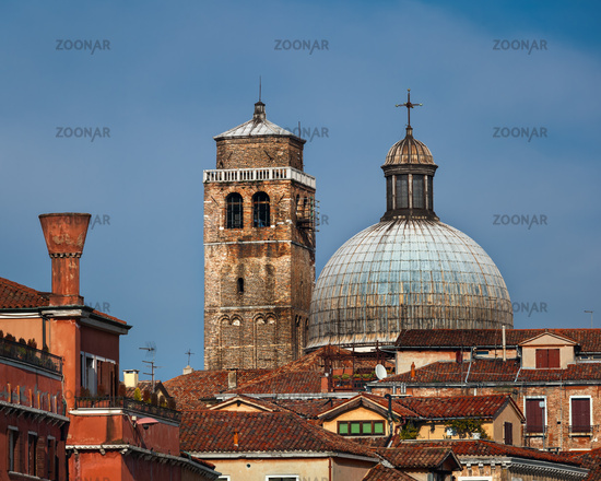 Dome and Bell Tower of Chiesa di San Geremia in Venice, Italy