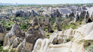 View of the Phallus Rock in the 'Love Valley' in Cappadocia in Anatolia, Turkey