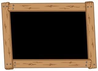 Wooden blackboard on white background - isolated illustration.
