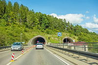 tunnel entrance / exit with cars, highway