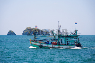 Thai Fishing Boat Open Ocean