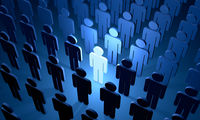 The prospective employee (symbolic figures of people)