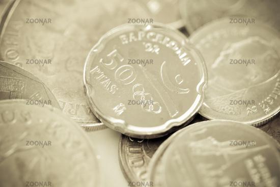 Peseta Münze zu Ehren der olympischen Spiele