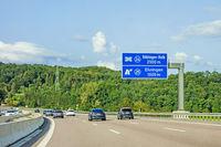 freeway road sign on Autobahn A81, Ehningen / Boblingen-Hulb