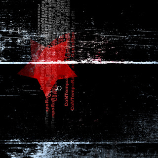 Black poster with a red star and abstract text.