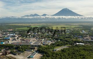Yelizovo town and Avachinskaya group of volcanoes.