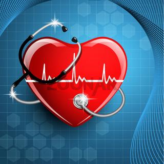 Stethoscope medical equipment and heart shape.