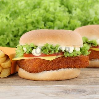 Fischburger Fisch Burger Backfisch Hamburger und Pommes Frites