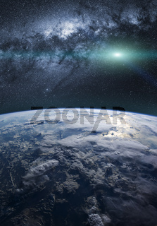 Earth with the milky way in background