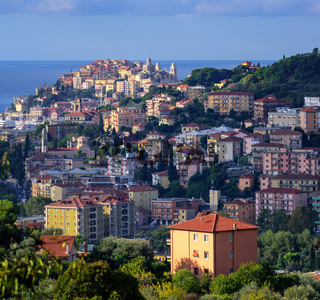 Panoramic view of the old town of Imperia on italian Riviera, Liguria, Italy