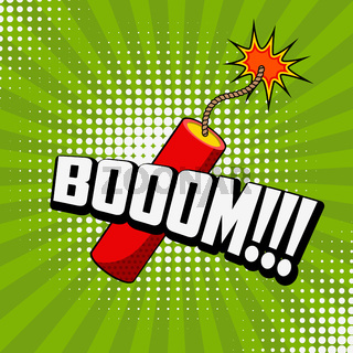 Boom!!! Comic style phrase on sunburst background with dynamite stick. Design element for flyer, poster.
